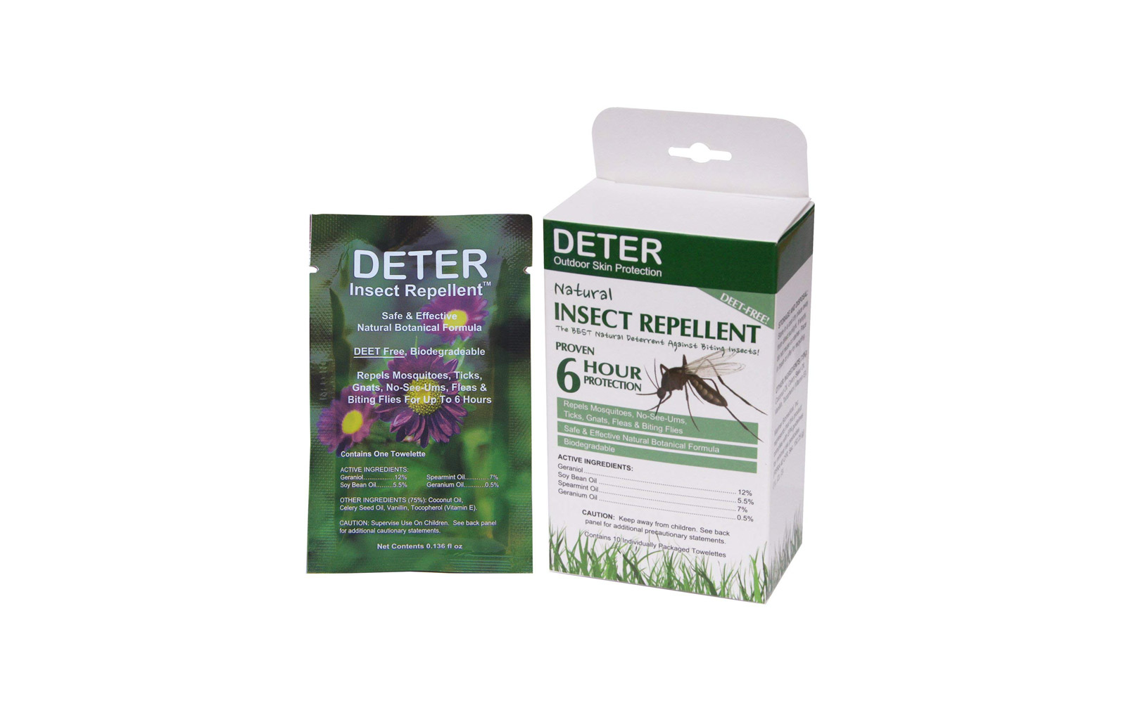 Deter Natural Insect Repellent Wipes