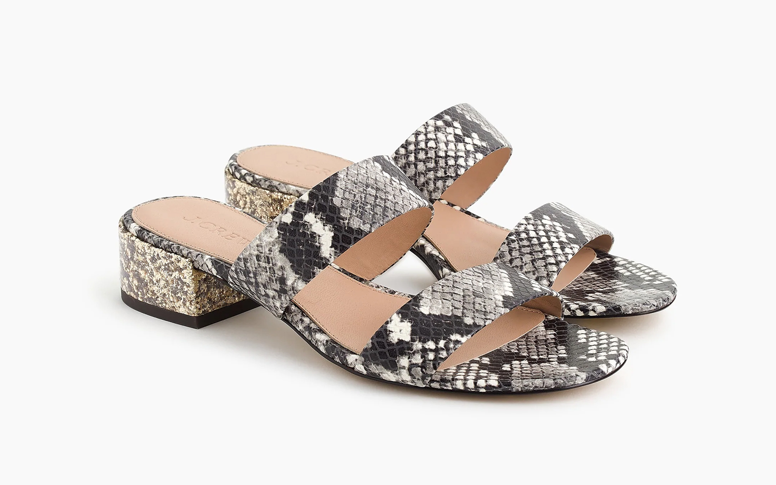 Double-strap Leather Slides in Faux-snakeskin
