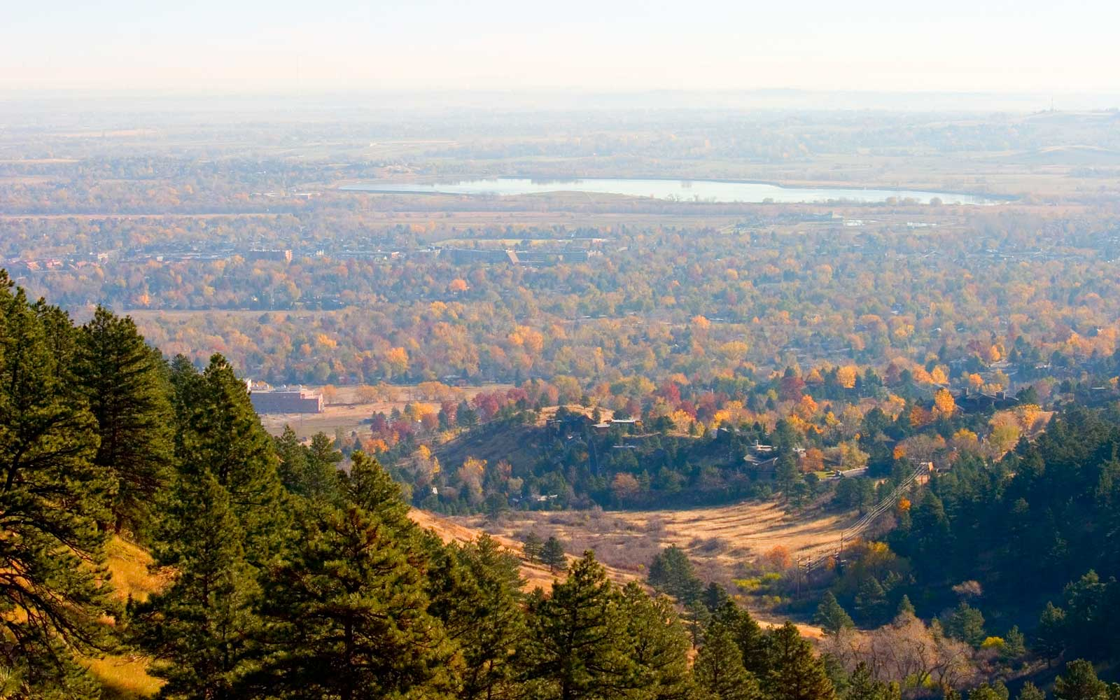 Aerial shot of Boulder Colorado from the Fern Canyon Trail