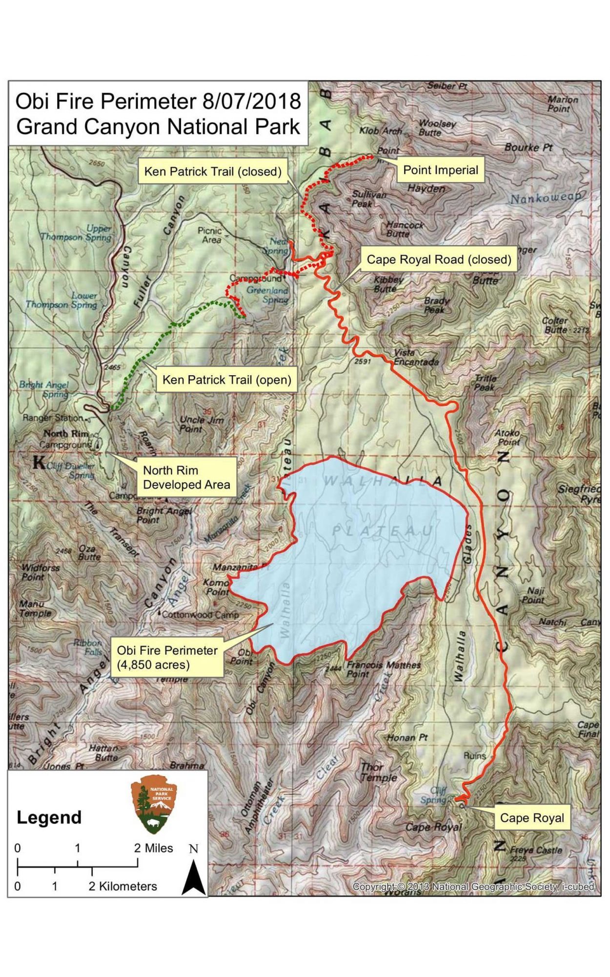 Grand Canyon Obi Fire Perimeter Map