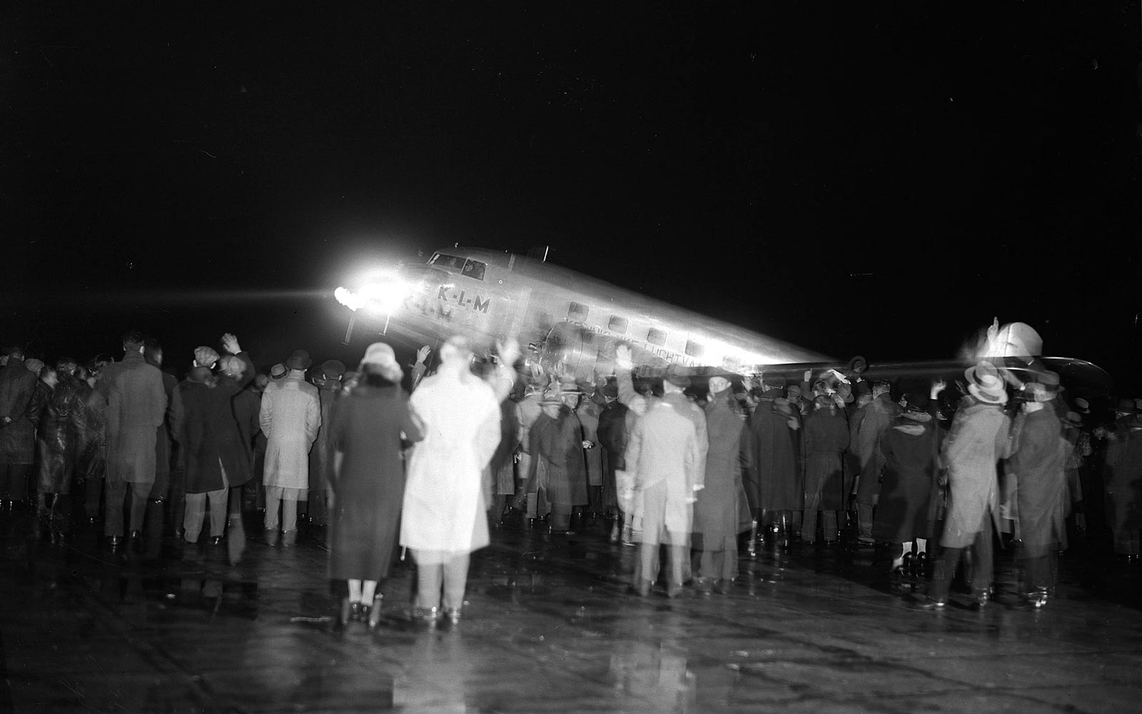 Vintage shot of passengers boarding a KLM flight