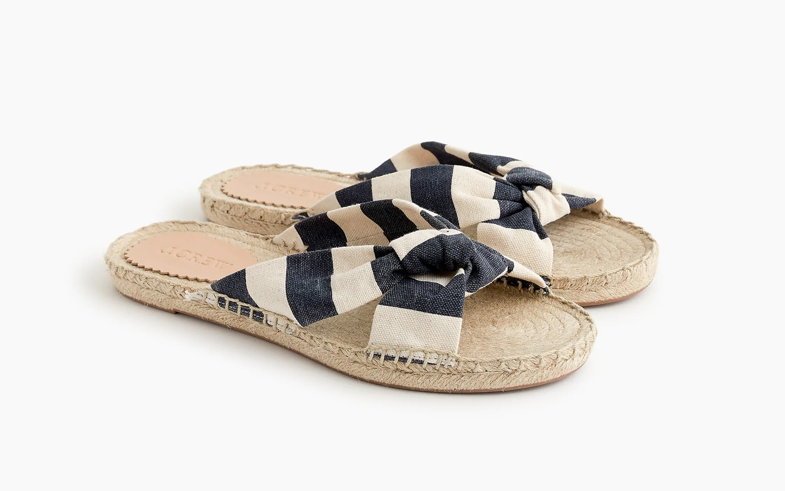 Knotted Espadrille Slides in Stripe