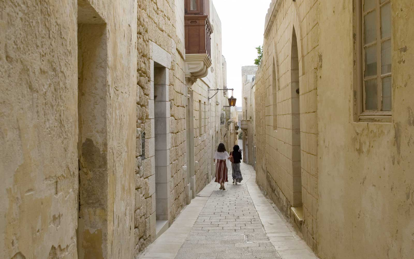 The quiet streets of the Mdina area of Malta
