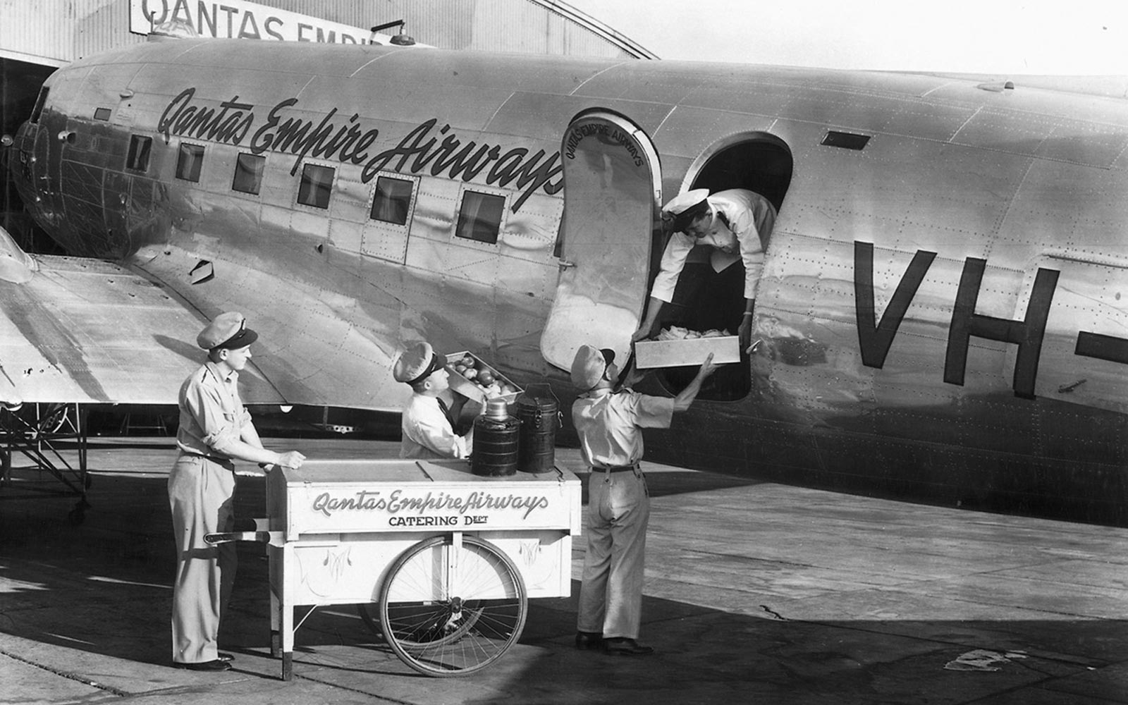 Catering a 1947 Qantas airways flight