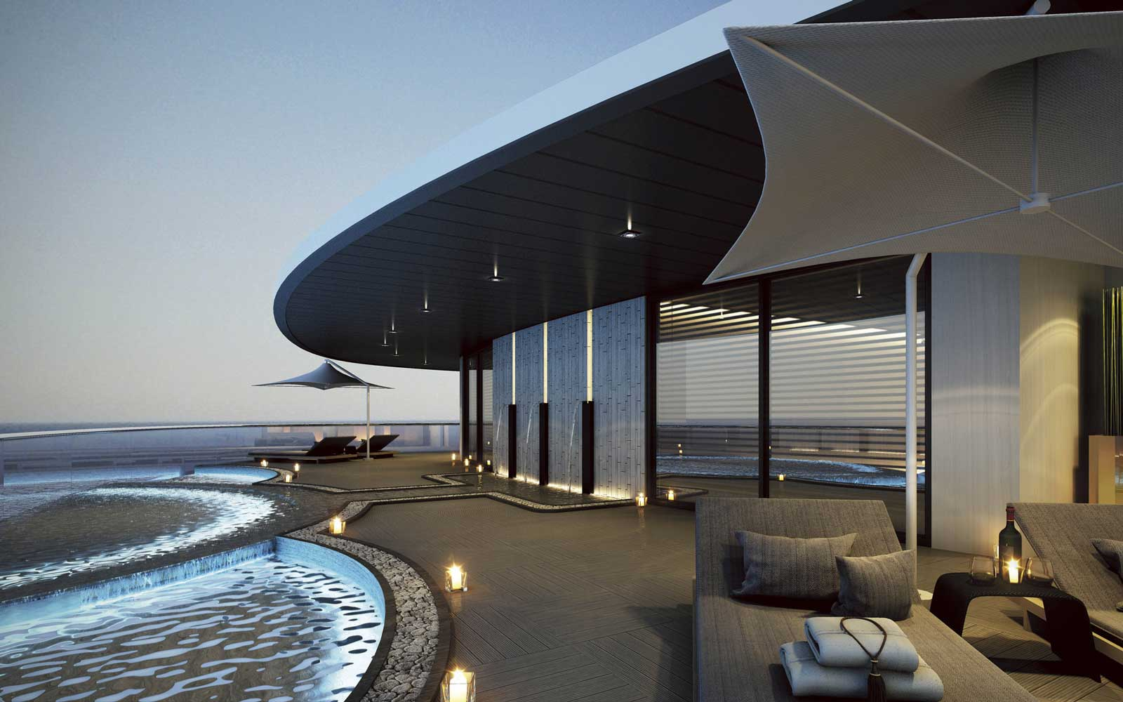 Spa terrace of the Scenic Eclipse luxury cruise ship