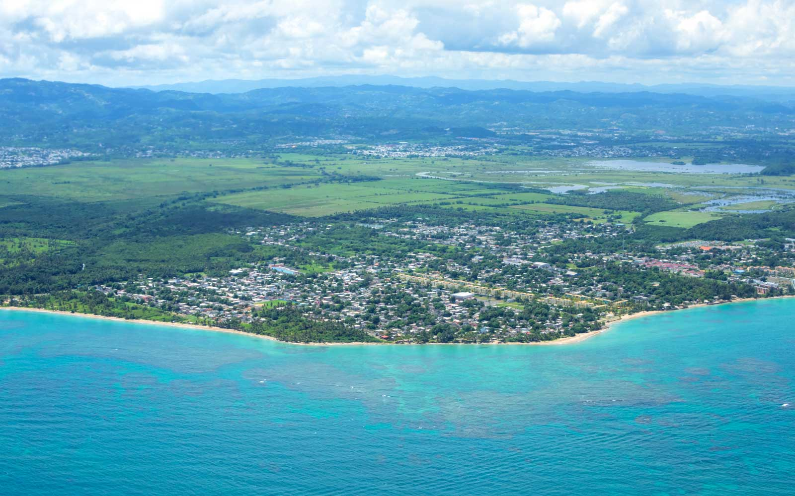 Aerial view of Puerto Rico coastal city of Vieques in Loiza