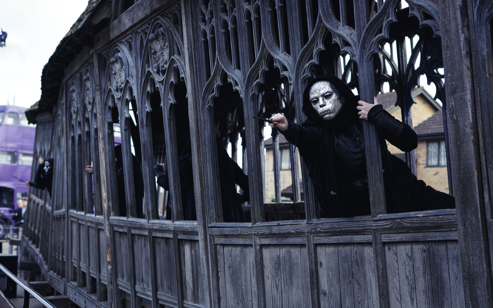 Get up close with Death Eaters during the Dark Arts tour offered in the fall at the Warner Brothers Studio Tour London—The Making of Harry Potter.