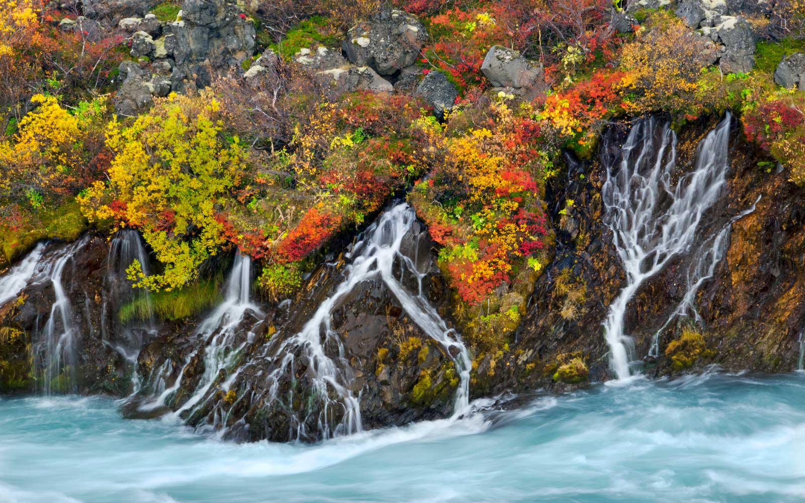 Hraunfossar Falls in the Autumn
