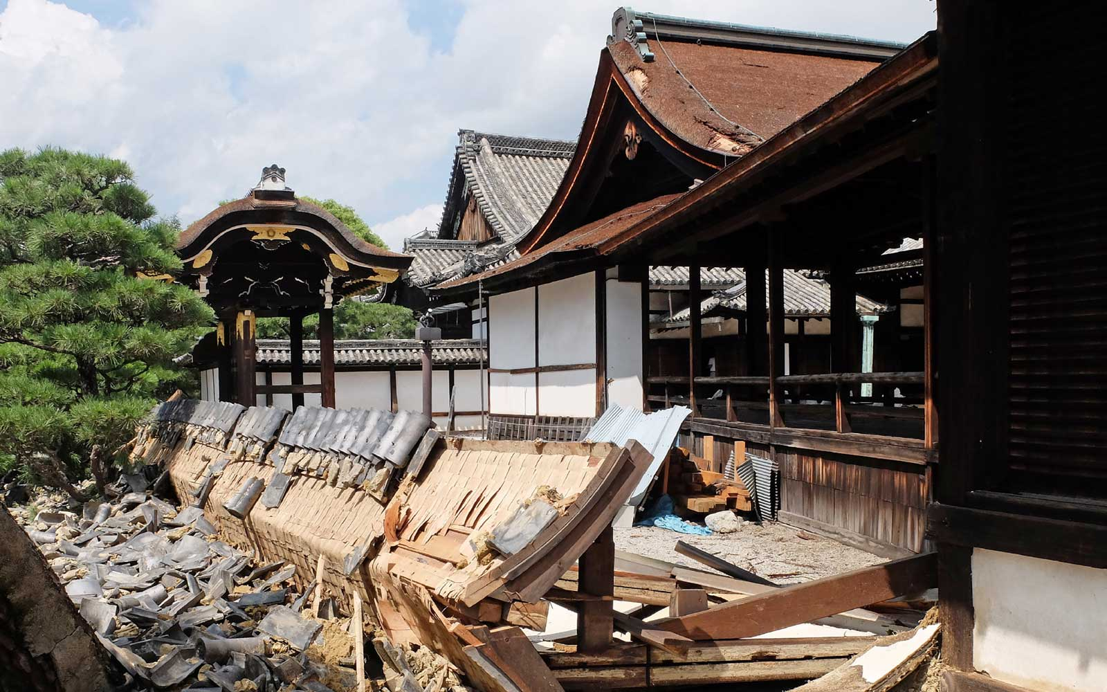 This photo shows a wall of the South Noh stage at Nishi Honganji temple damaged by Typhoon Jebi the day before in Kyoto on September 5, 2018.