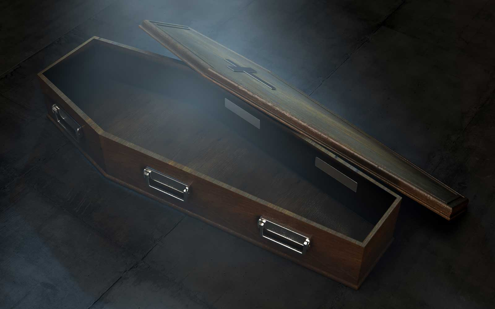 A slightly open empty wooden coffin with a metal crucifix and handles on a dark ominous background