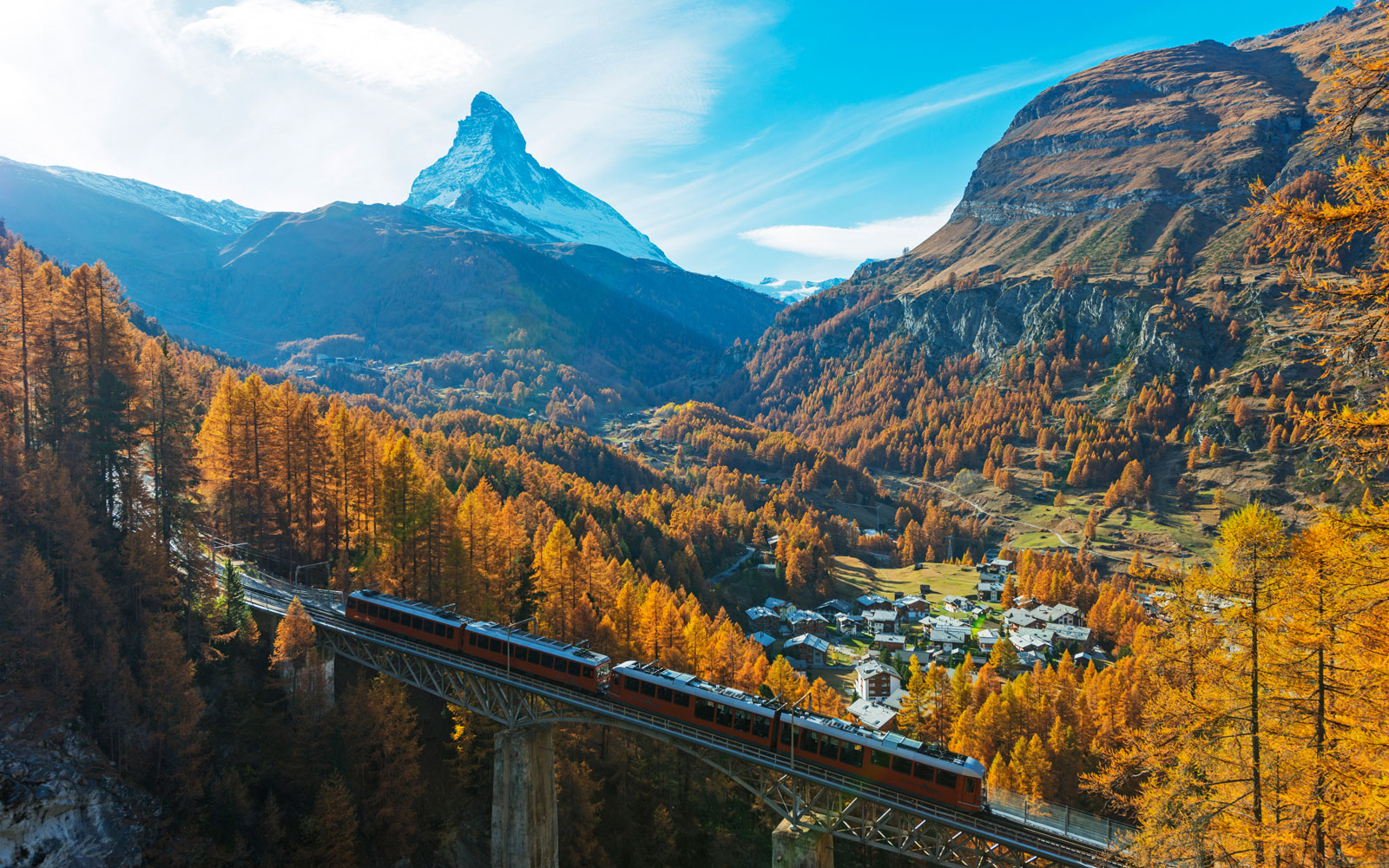 The Glacier Express train is known as the world's slowest express train, taking you on an 8 hour scenic journey.
