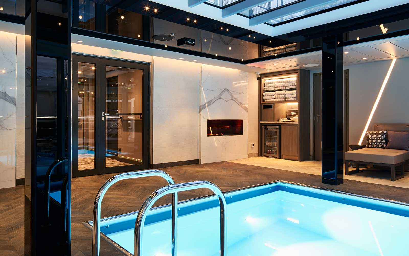 Pool on board the Crystal Bach
