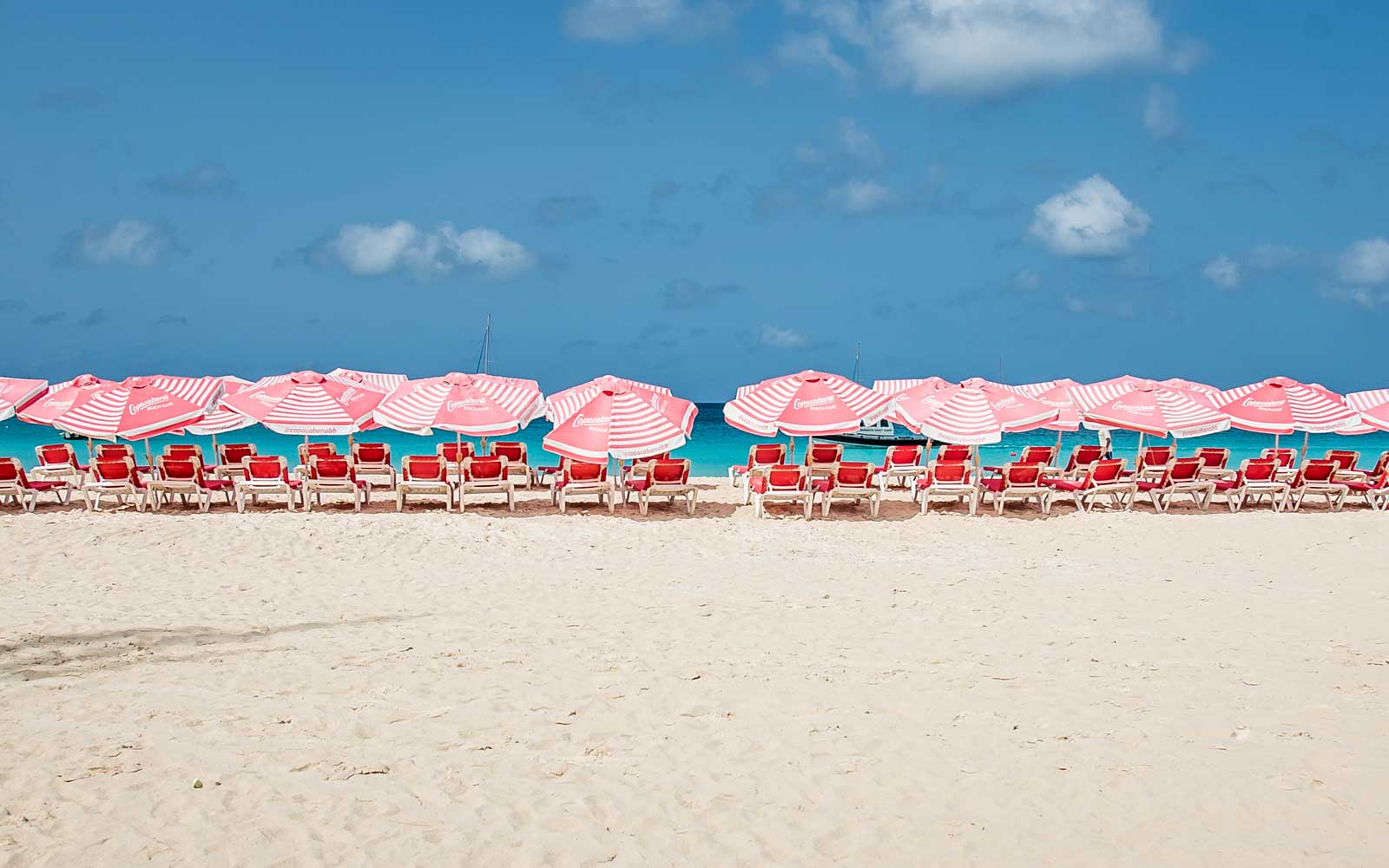 Beach chairs at Virgin's Departure Beach, in Barbados