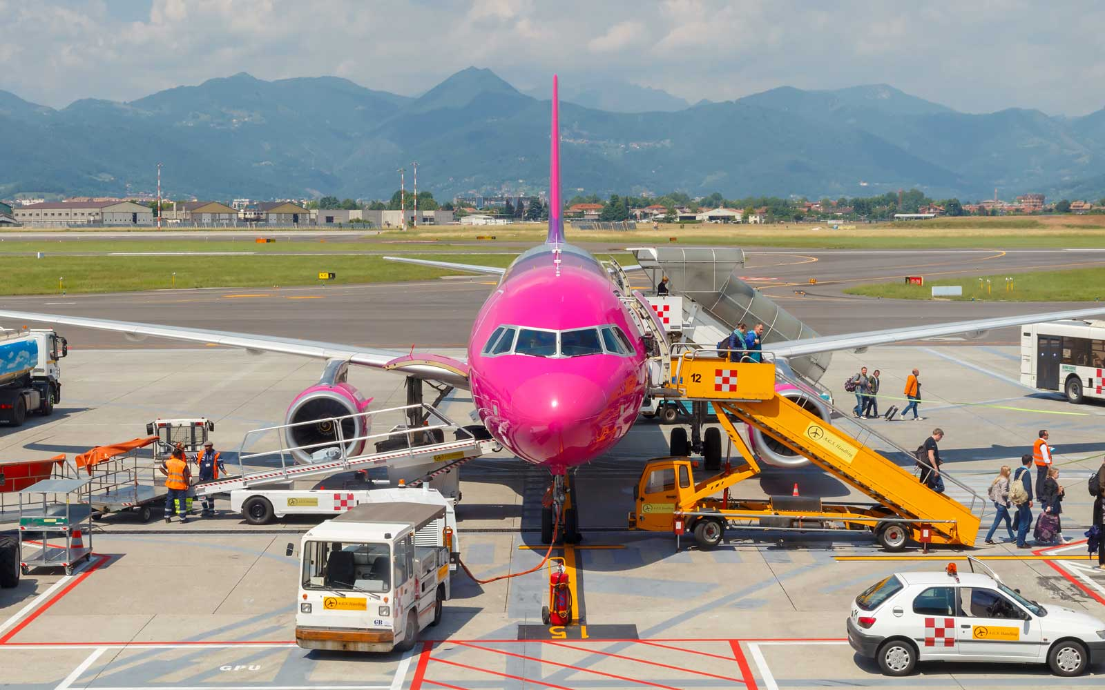Aircraft Wizz Air aviation company at the airport of Bergamo, Italy