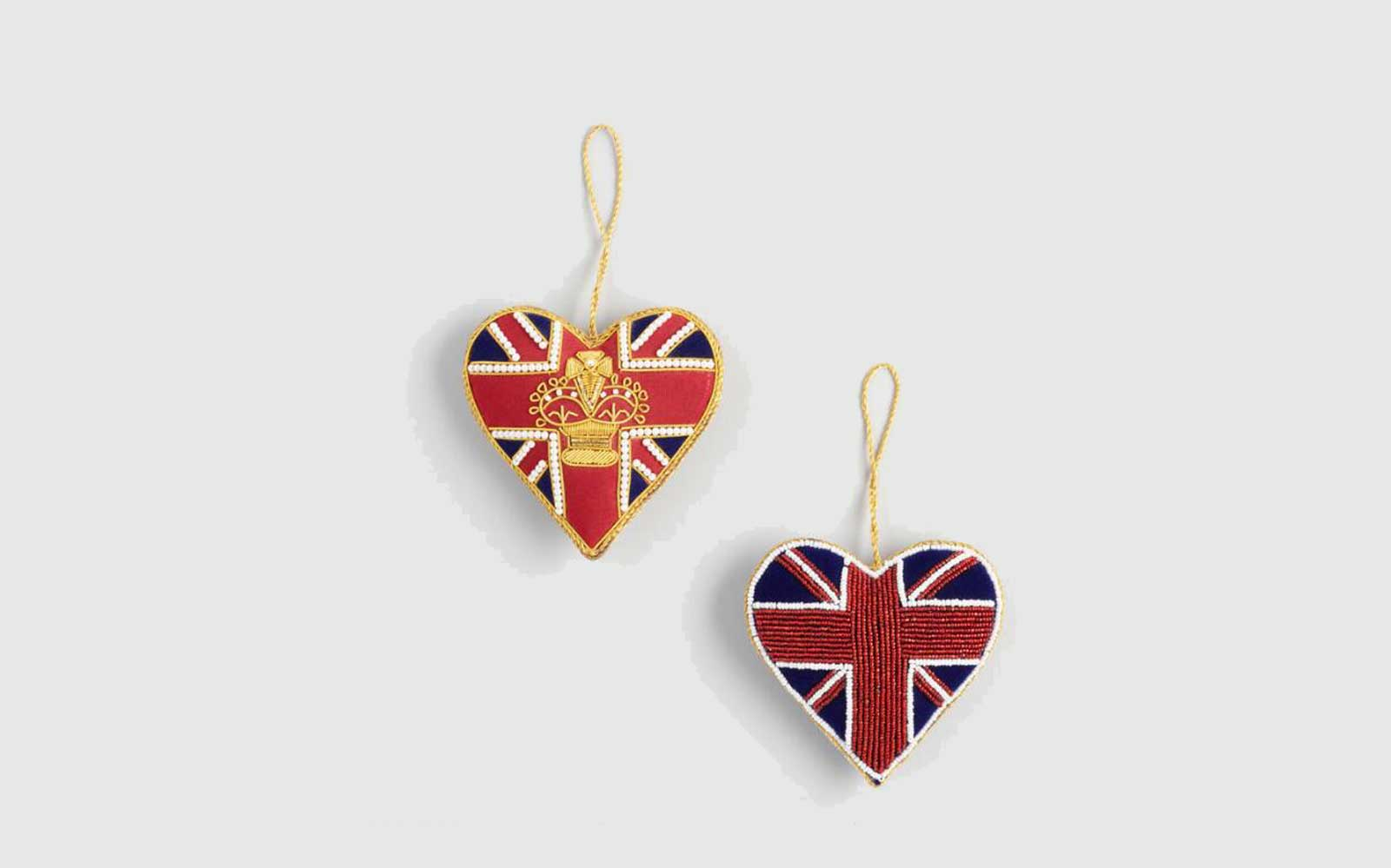 Beaded Fabric British Heart Ornaments