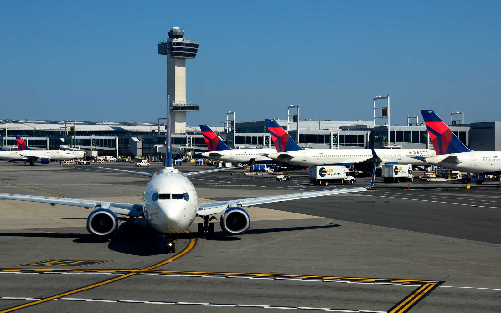 A Delta Airlines passenger jet taxis at John F. Kennedy International Airport in New York, New York,