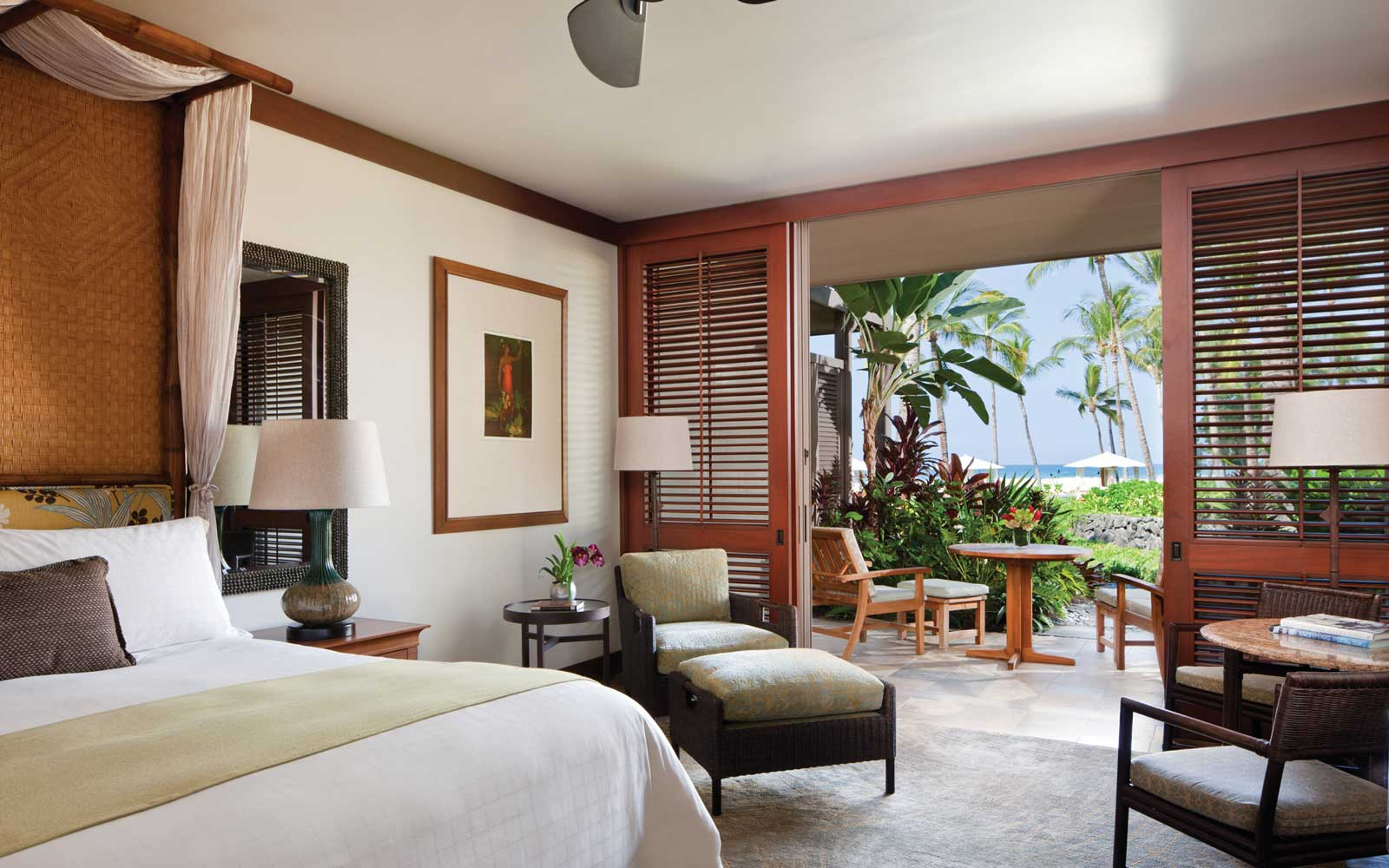 Inside a suite at the Four Seasons Resort Hualalai, in Hawaii