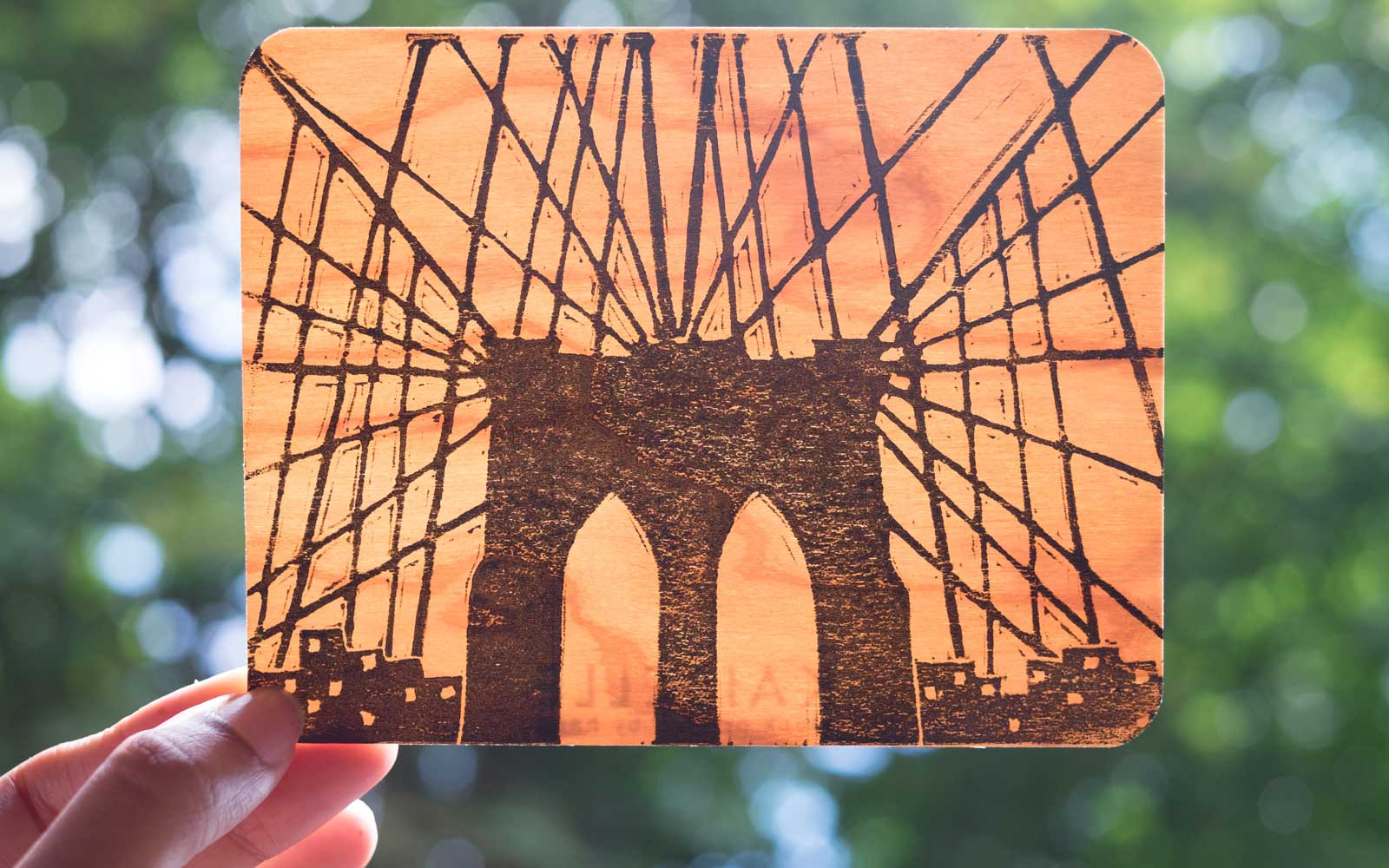 Kaibelle Brooklyn Bridge Wooden Card, Souvenear