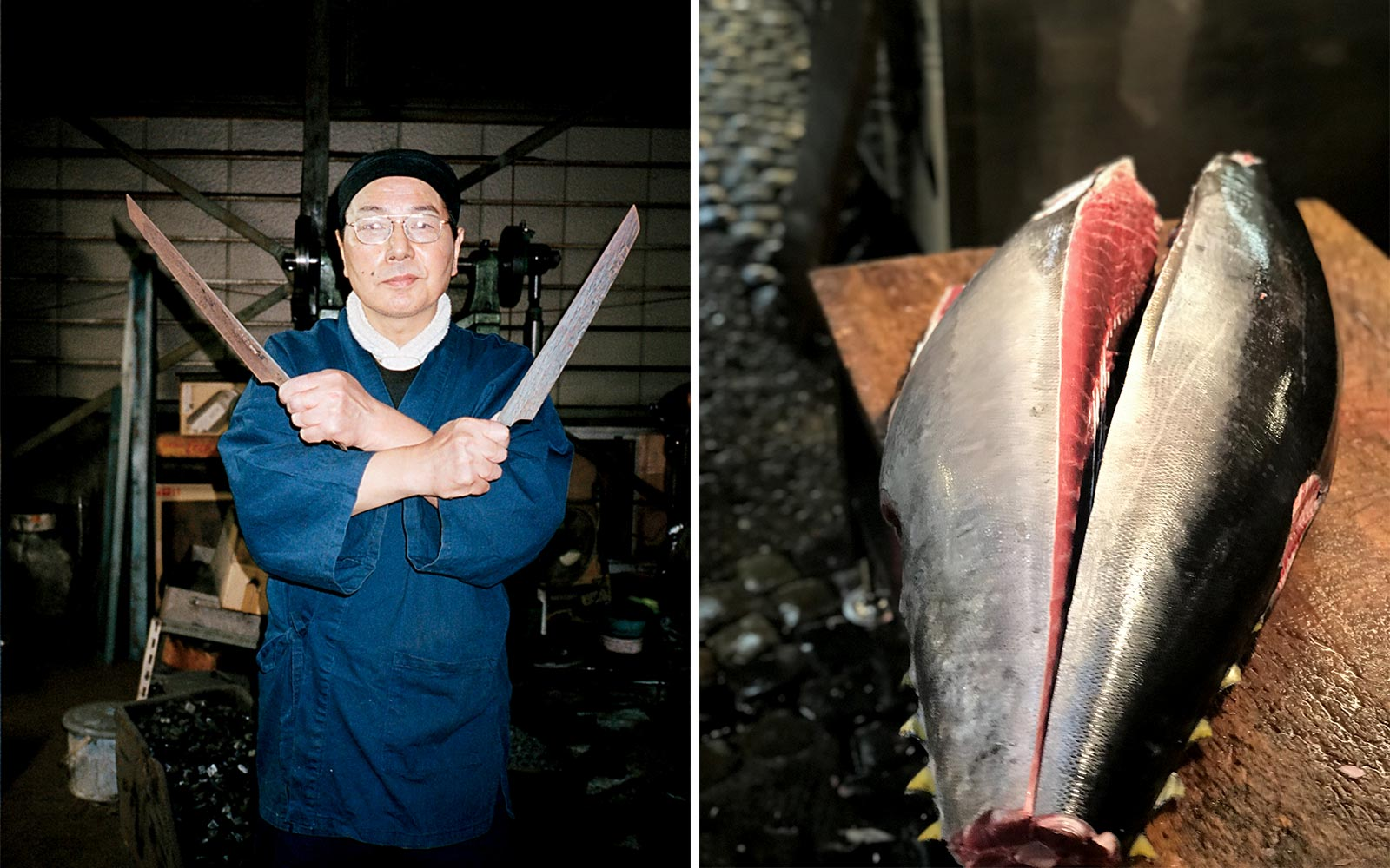 Knifemaker and fish in Japan