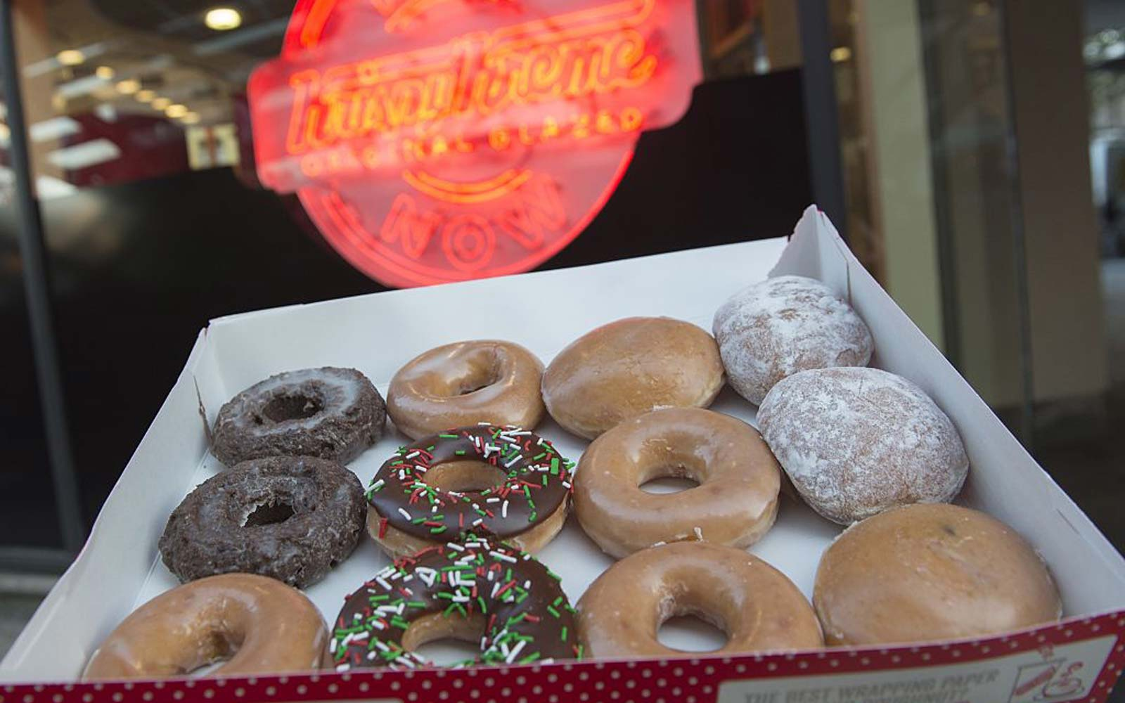Krispy Kreme doughnuts are seen outside their store