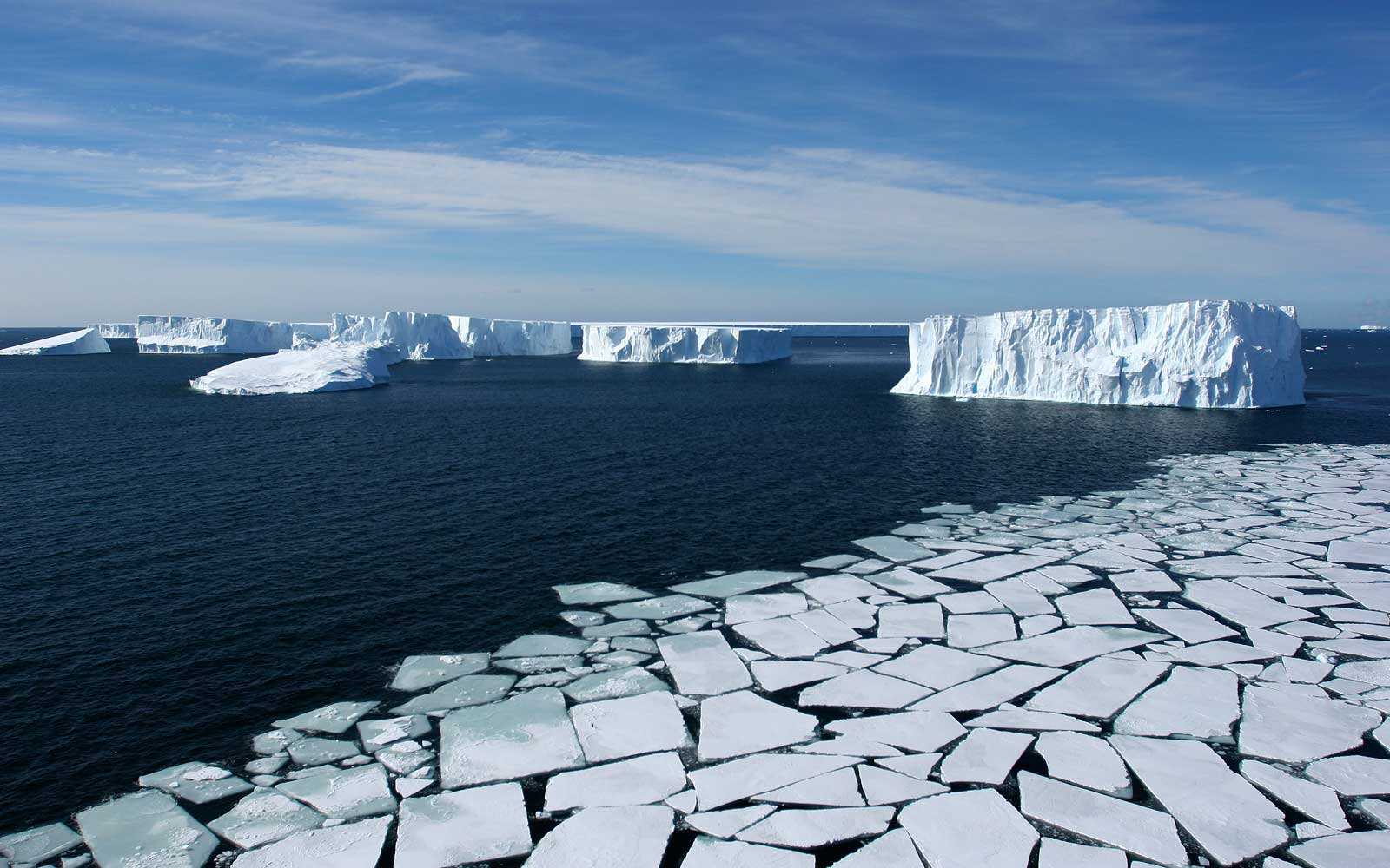 Pack Ice and Icebergs in the Ross Sea, Antarctica