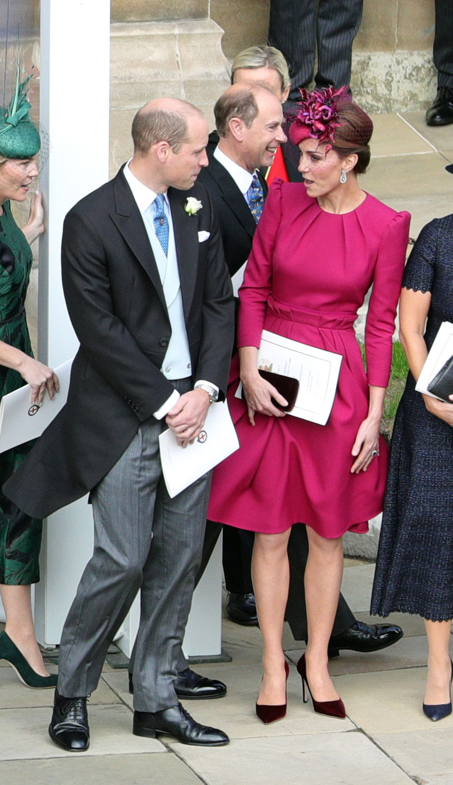 Prince William, the Duke of Cambridge and Catherine, the Duchess of Cambridge outside St George's Chapel following the wedding of Princess Eugenie to Jack Brooksbank.