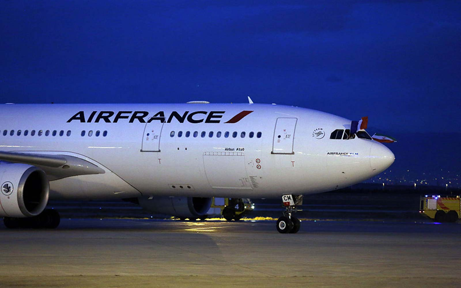 An Air France airliner arrives at the Imam Khomeini international airport in the Iranian capital Tehran
