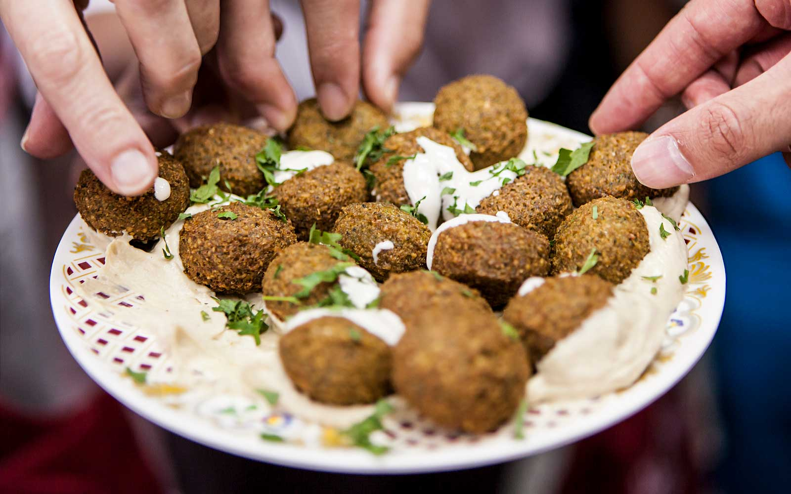 Sharing falafel in Dubai