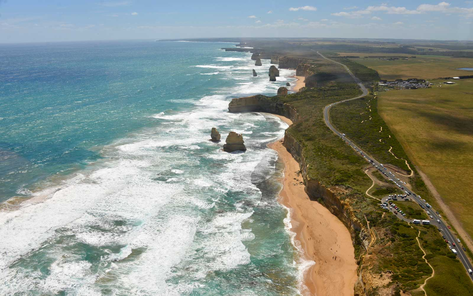 The Twelve Apostles area from the air. Great Ocean Road, Victoria, Australia