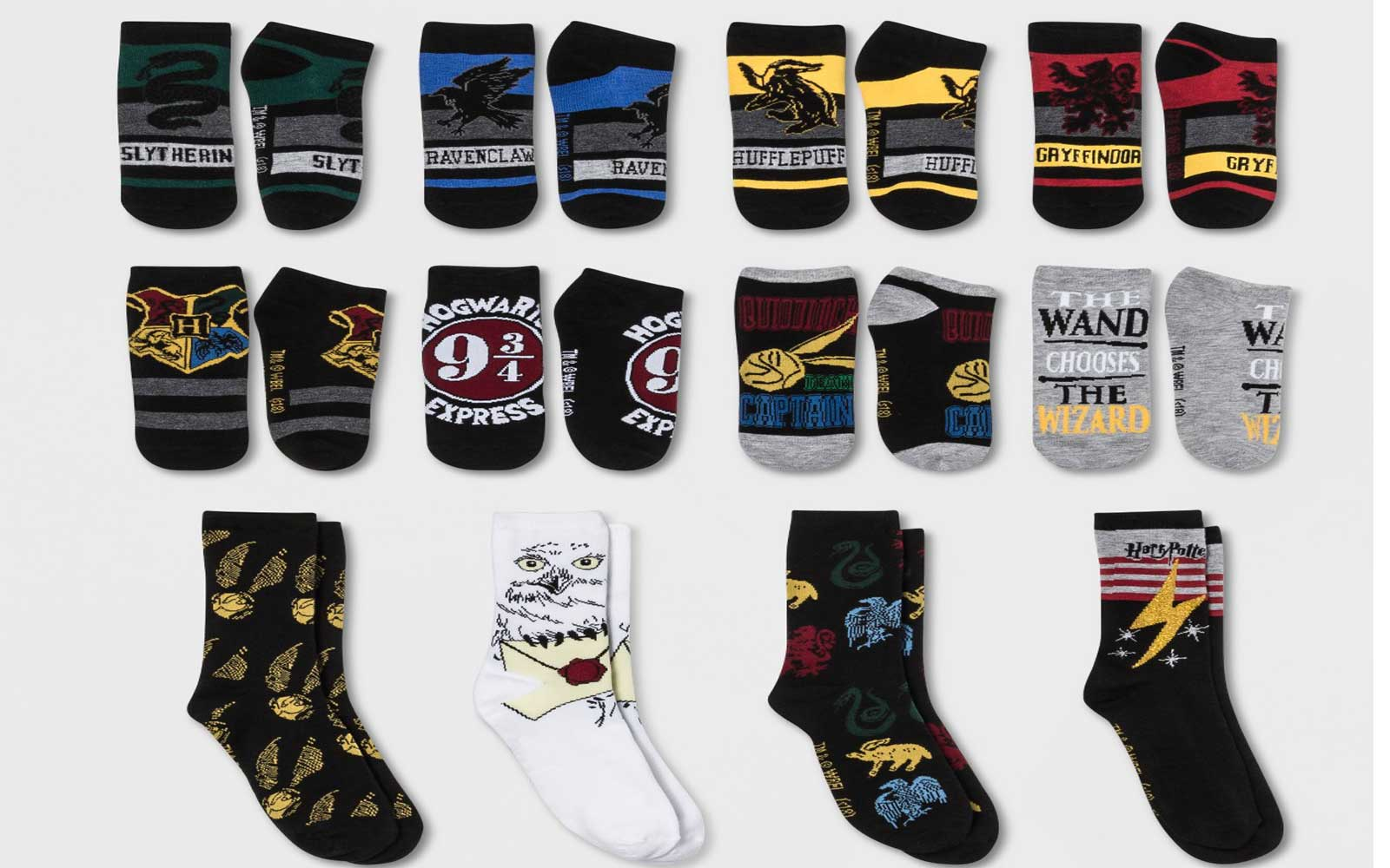 The Harry Potter sock collection is $15.