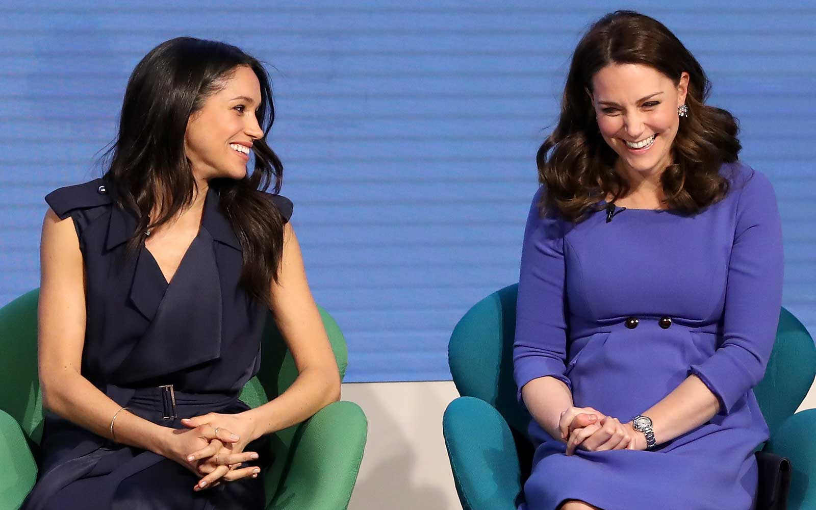 Meghan Markle and Catherine, Duchess of Cambridge attend the first annual Royal Foundation Forum held at Aviva on February 28, 2018 in London, England.