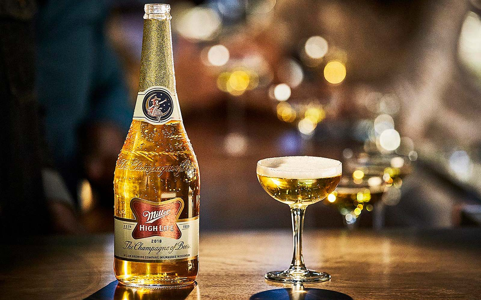 Miller High Life's new champagne bottle design