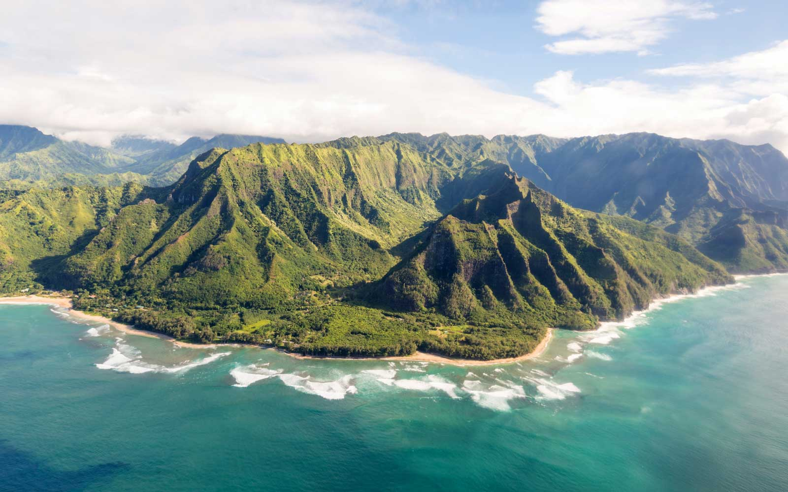 Napali coast of Kauai (Hawaii) seen from above