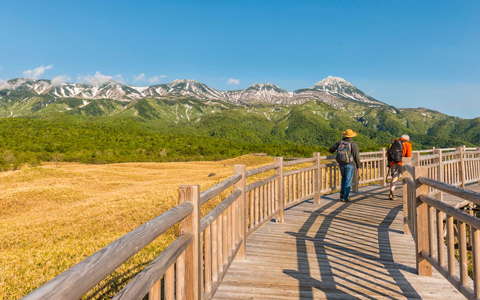 Shiretoko National Park. Scenic view on long boardwalk over wetland and two men walking, Shiretoko Five lakes.