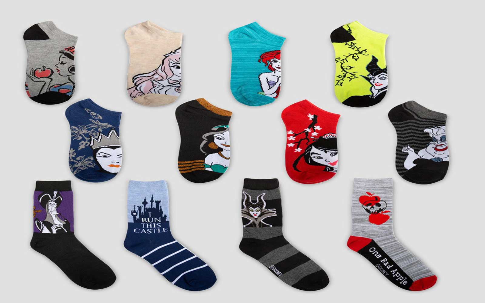 The Disney Princess sock collection features a combination of princesses and villains.