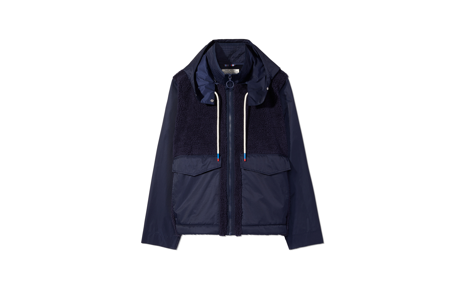 Tory Burch Sherpa Hooded Jacket in Tory Navy