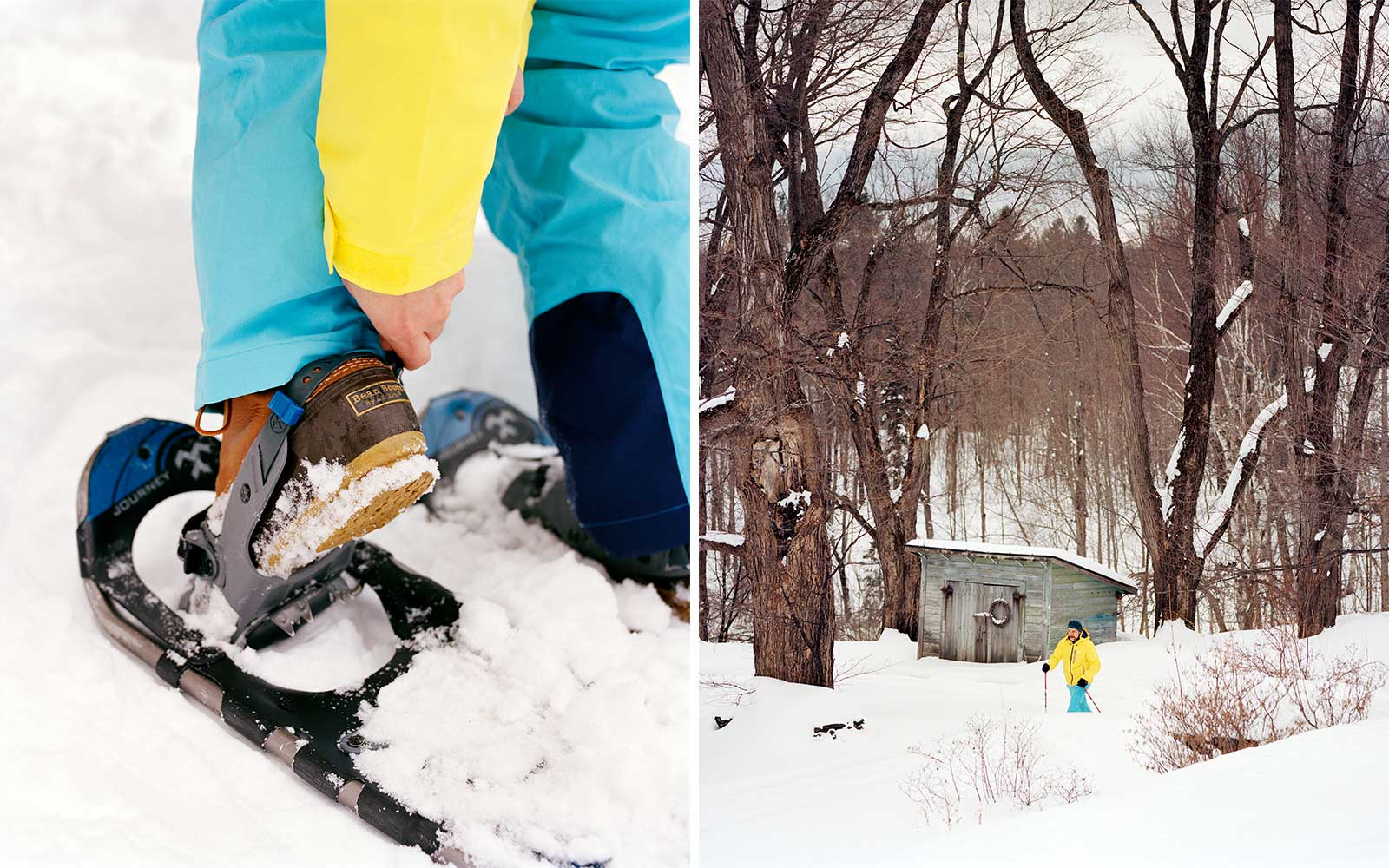 Snowshoeing at Twin Farms luxury resort in Vermont