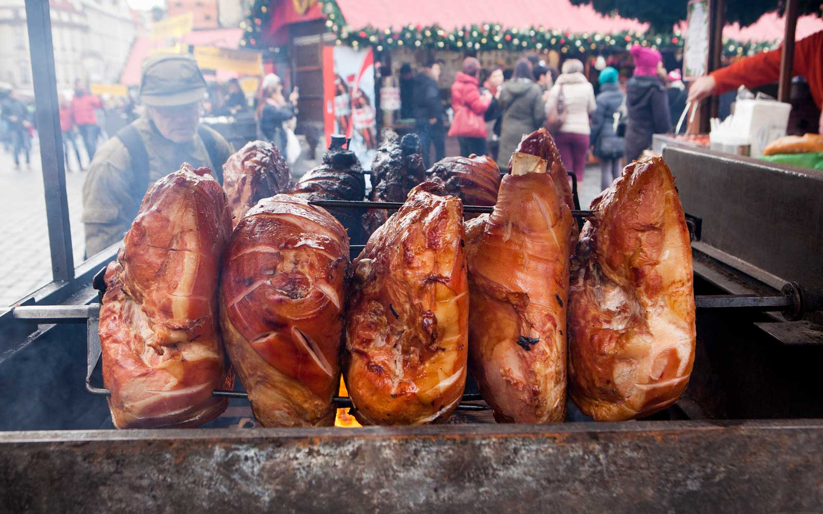 You'll find delectable ham roasting on spits in the markets of the Czech Republic.