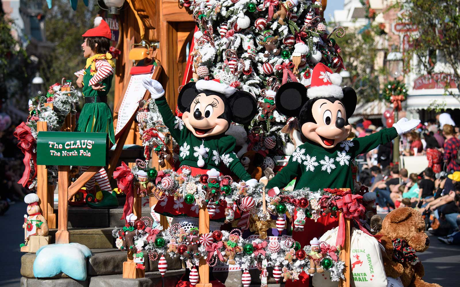 Mickey and Minnie at Disneyland Resort during the Holidays