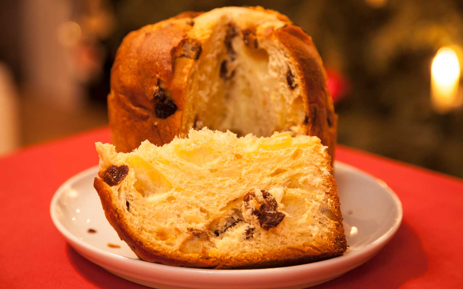 Panettone is a sweet bread that comes laced with candied fruits and raisins.