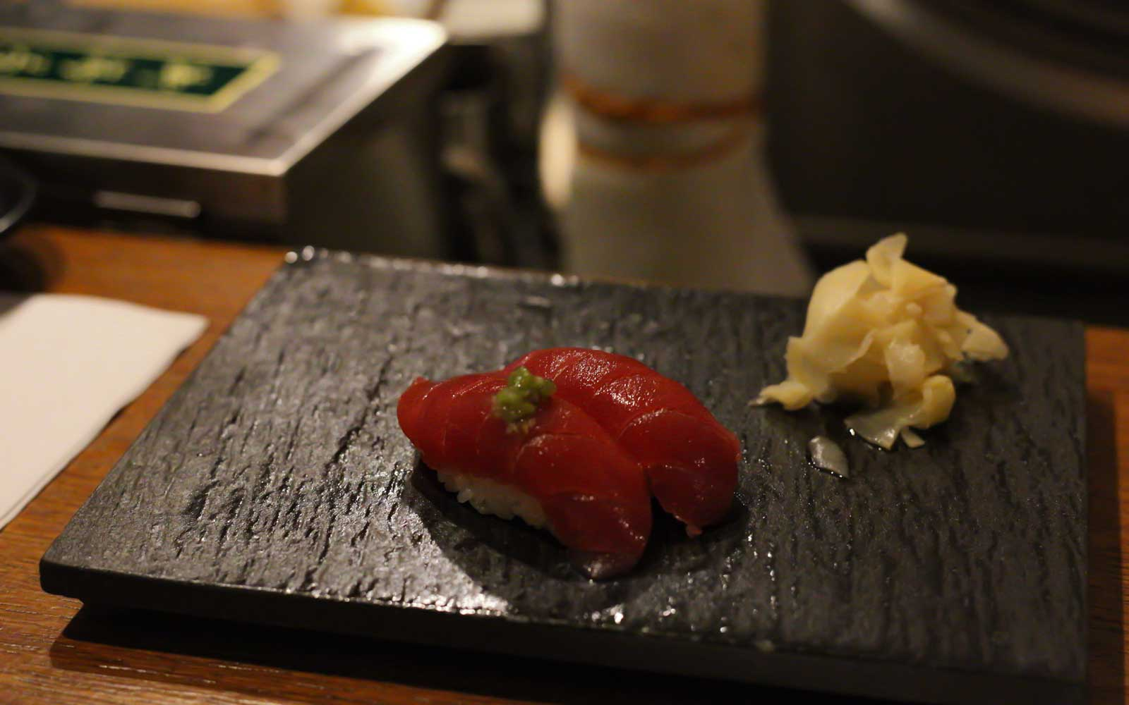 A course from the 12-piece omakase at Sushi by Bou at the Sanctuary Hotel.