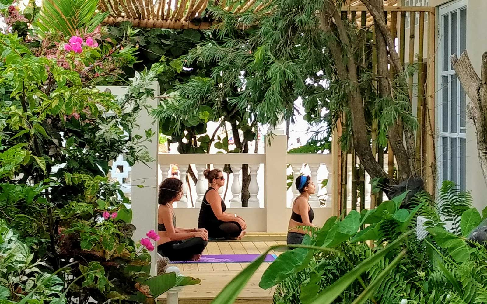Yoga deck at Tres Sirenas hotel in Puerto Rico