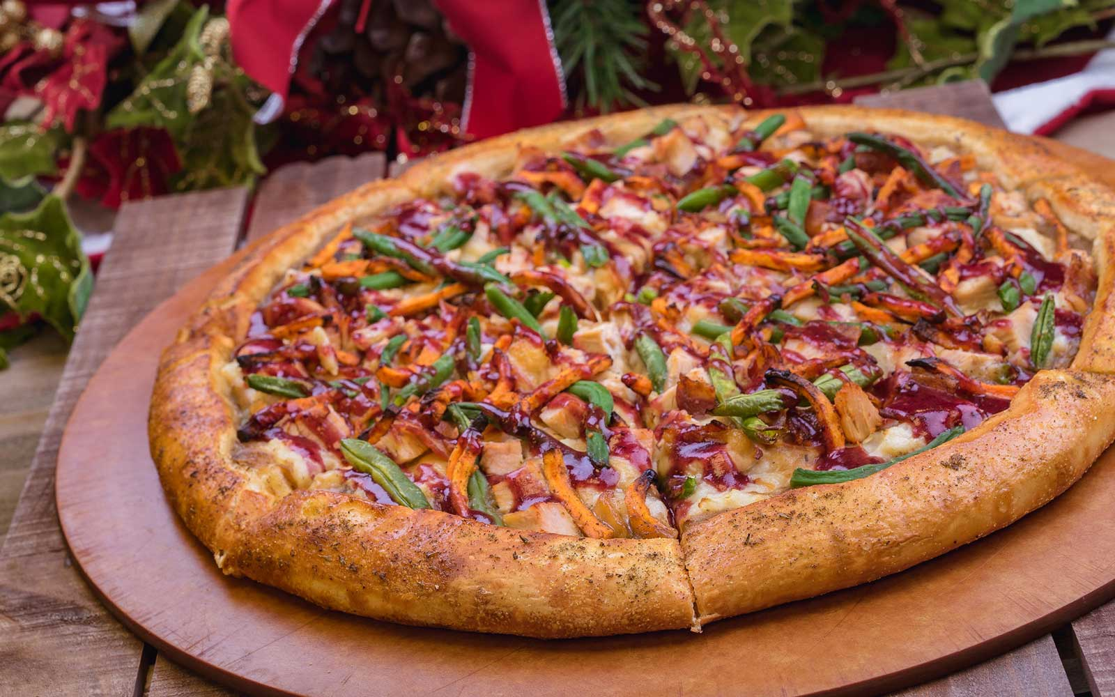 Holiday-themed pizza at Disney
