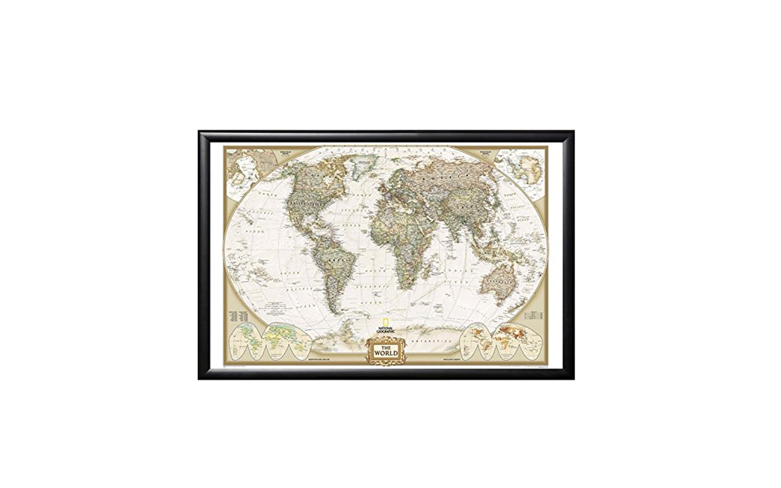 Framed National Geographic World Map with Push Pins