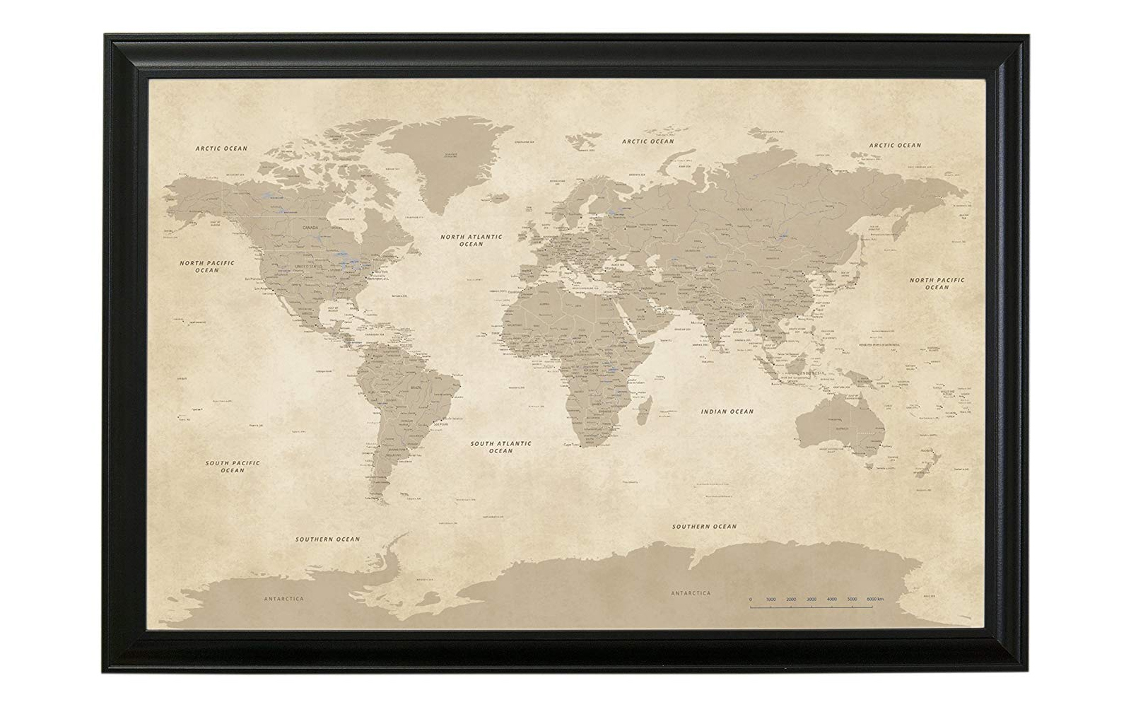 Push Pin Travel Maps Vintage World Map with Black Frame and Pins
