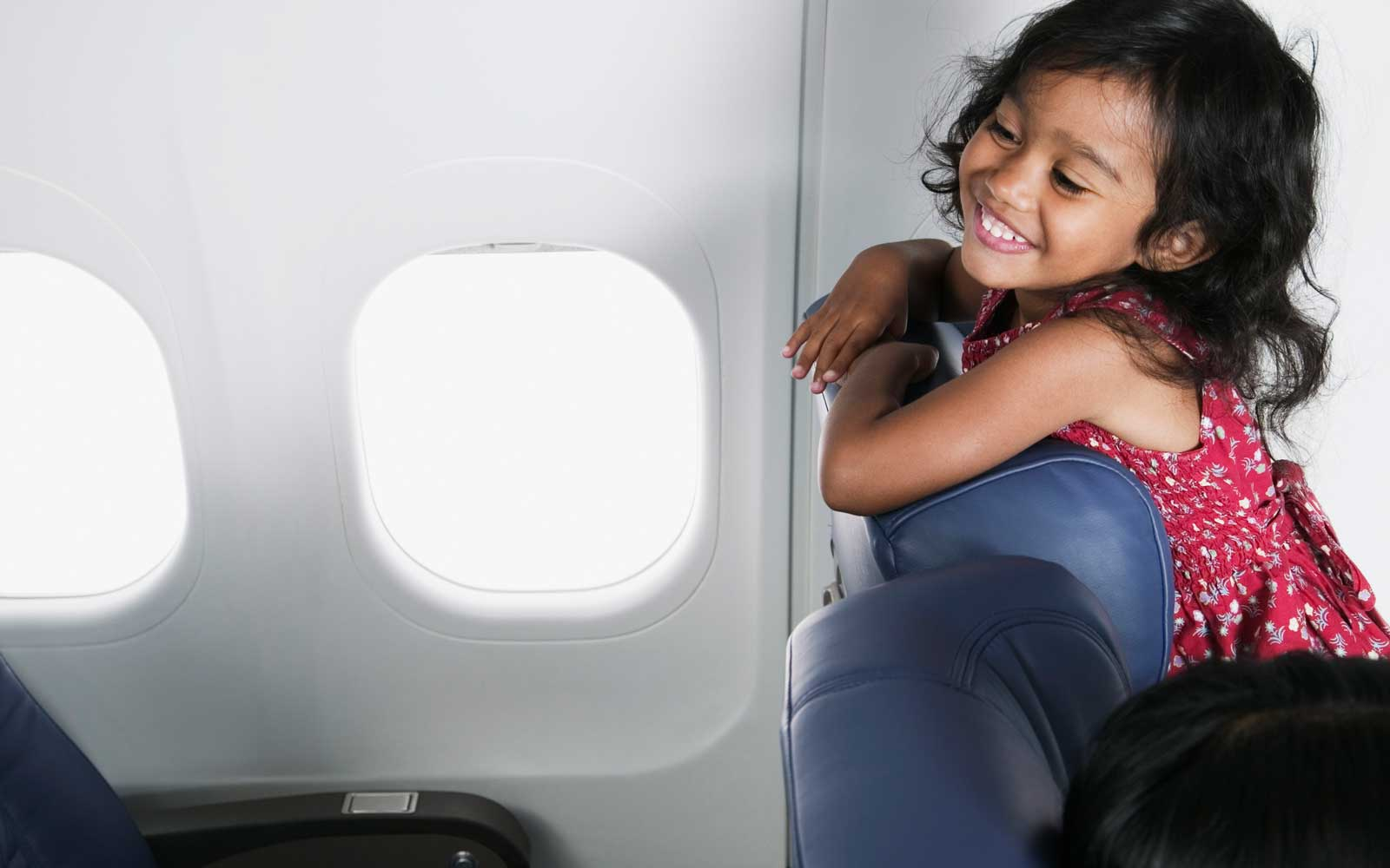Small child on airplane