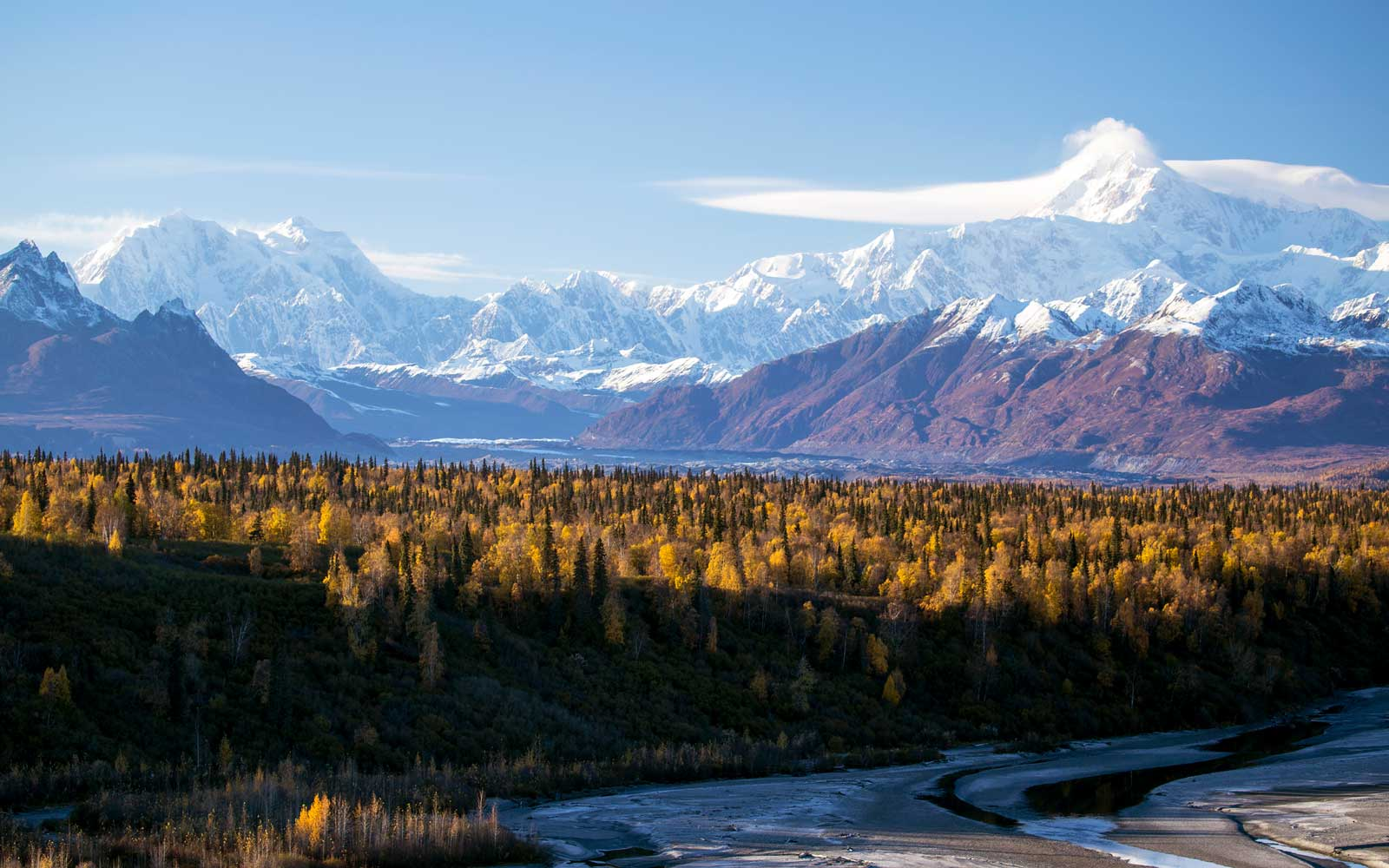 Denali, the Chulitna River and the Alaska Range in fall.