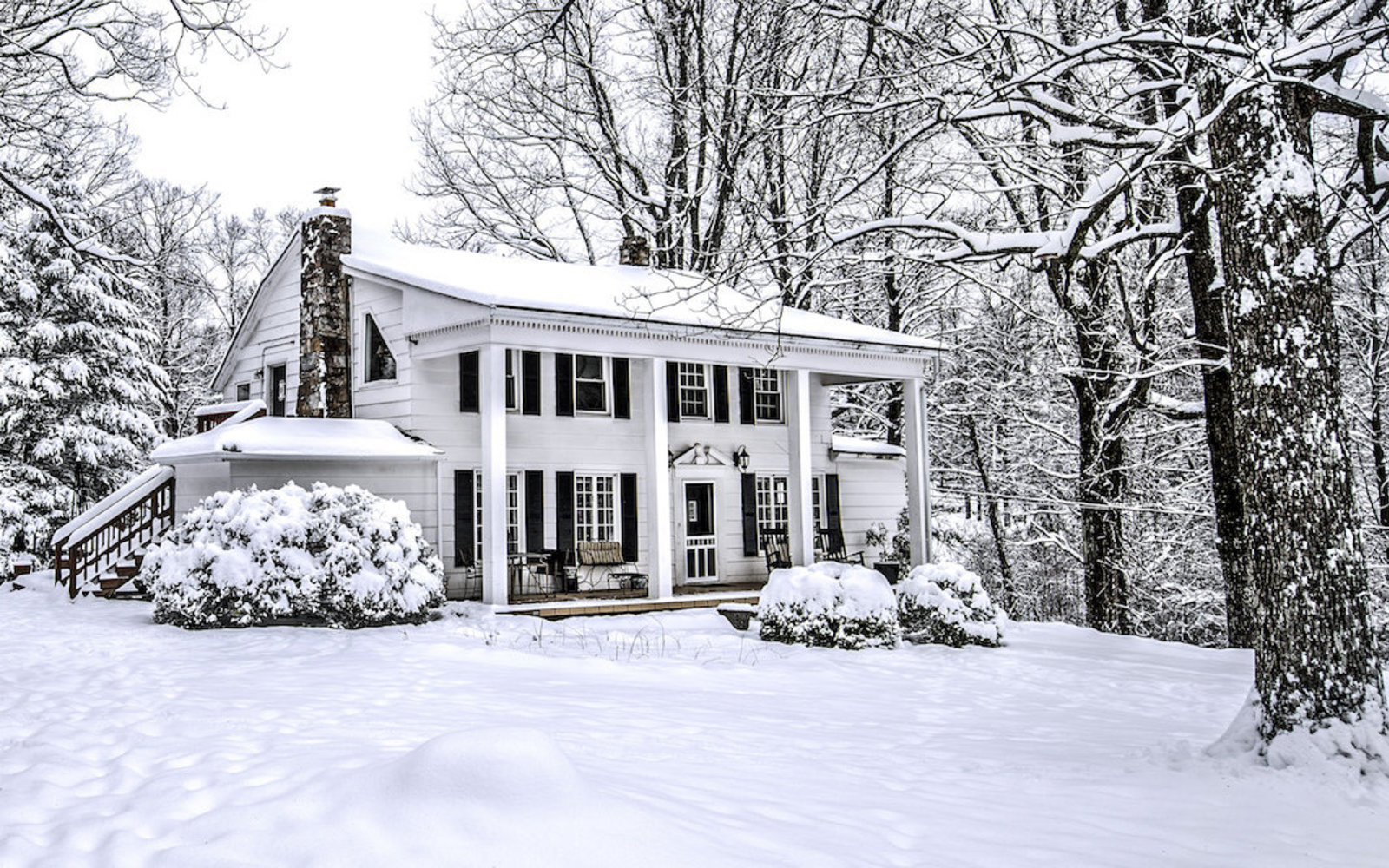 House in snowy landscape
