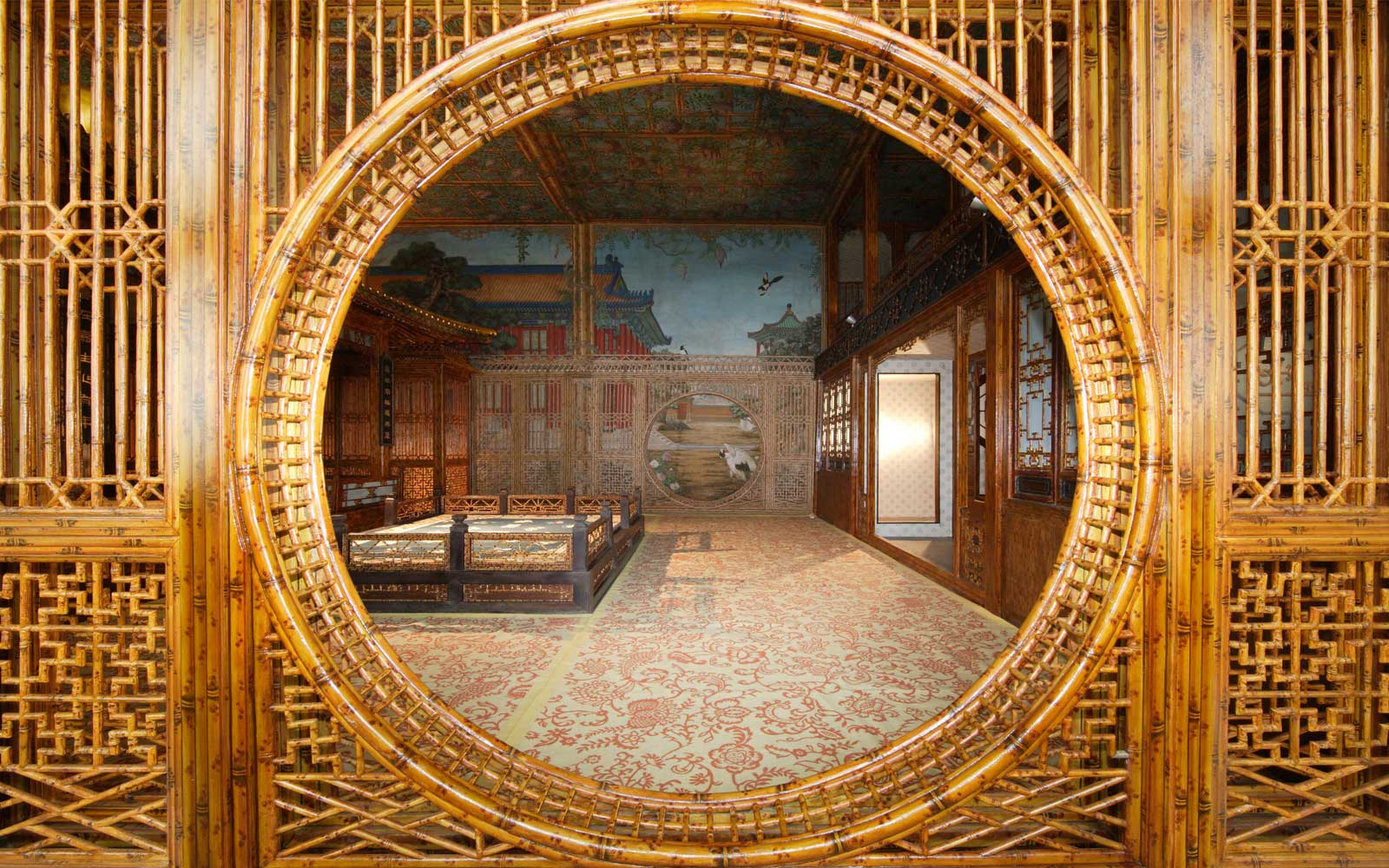 A photo of one of the interiors, the Juanqinzhai theater room, after conservation.
