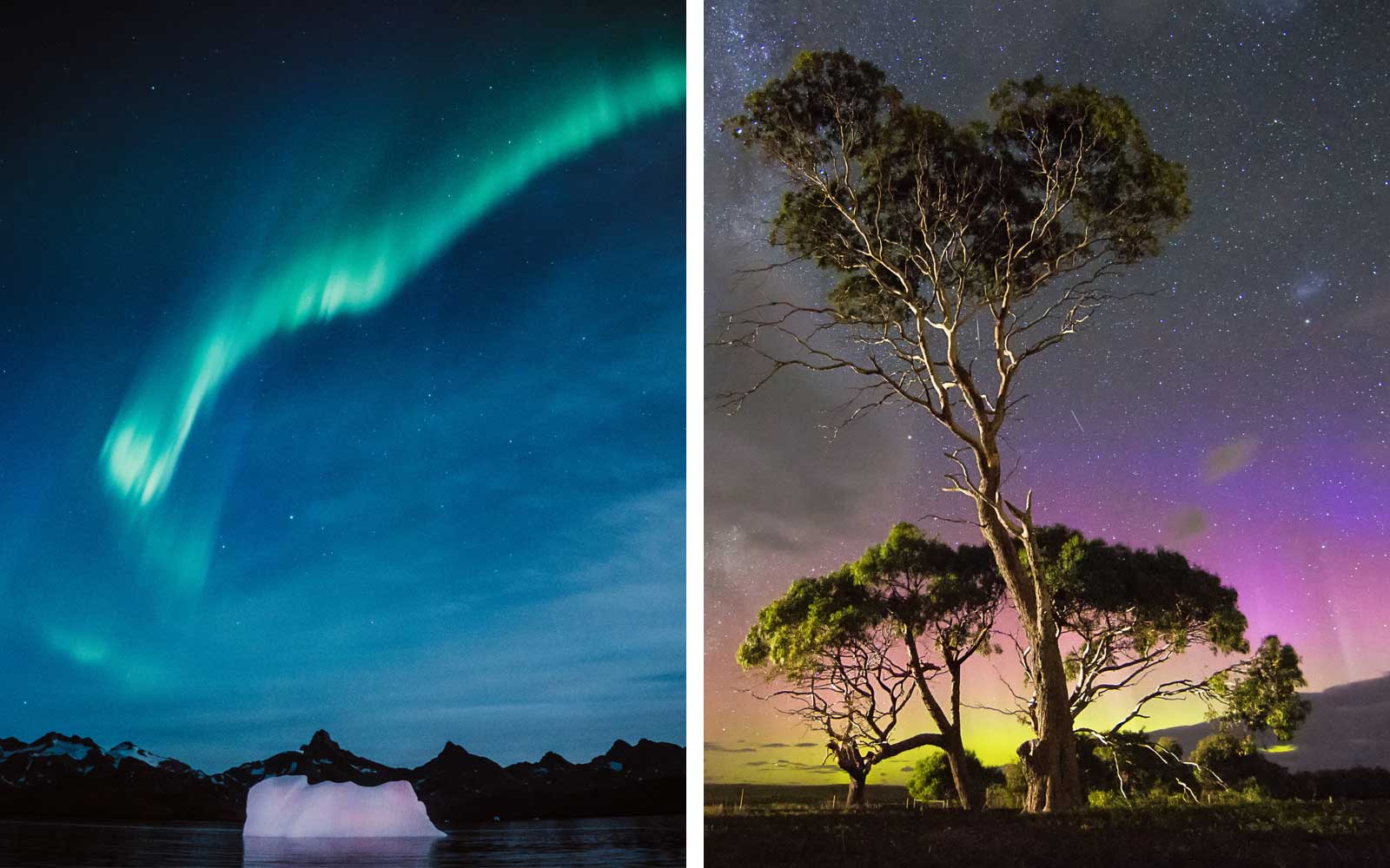 Northern lights in Greenland and Southern Lights in Australia